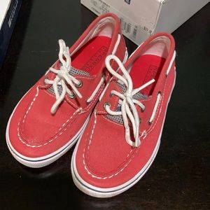 Red canvas sperrys size 11M